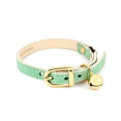 [Baby Green Leather Cat Collar ----------------- * * CAT SNIP: Whether your cat stays inside or goes out in the yard with you; all collars should be 'Safety' type or 'Breakaway' collars. Should the cat catch it accidentally on something, even his lower jaw< if too loose; the clasp will break open [not damaging the collar] but saving the kitty from strangling or harm.