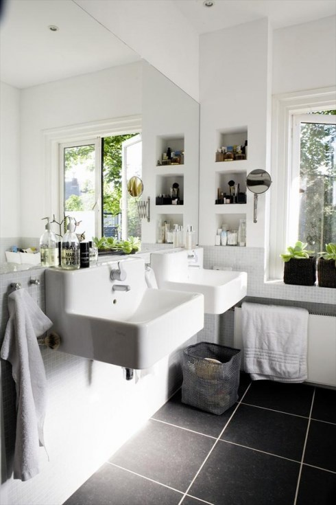 White bathroom with dark floor