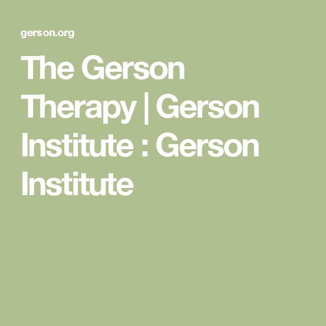 The Gerson Therapy | Gerson Institute : Gerson Institute