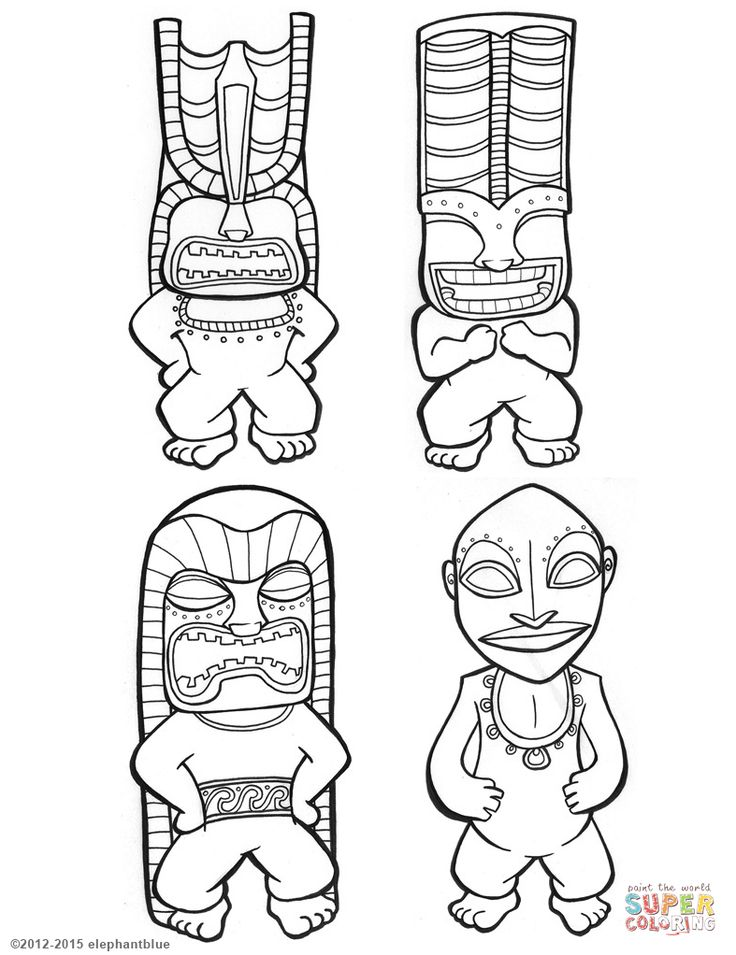 Tiki Gods coloring page from Tiki category. Select from