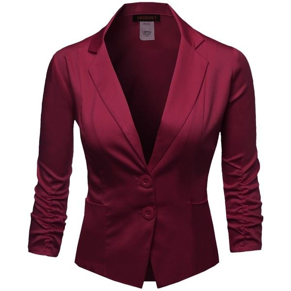 Awesome21 Women's Basic Solid Color Princessline Silky Cotton Plus... ($29) ❤ liked on Polyvore featuring outerwear, jackets, blazers, plus size blazers, womens plus size jackets, cotton jacket, plus size jackets and purple jacket