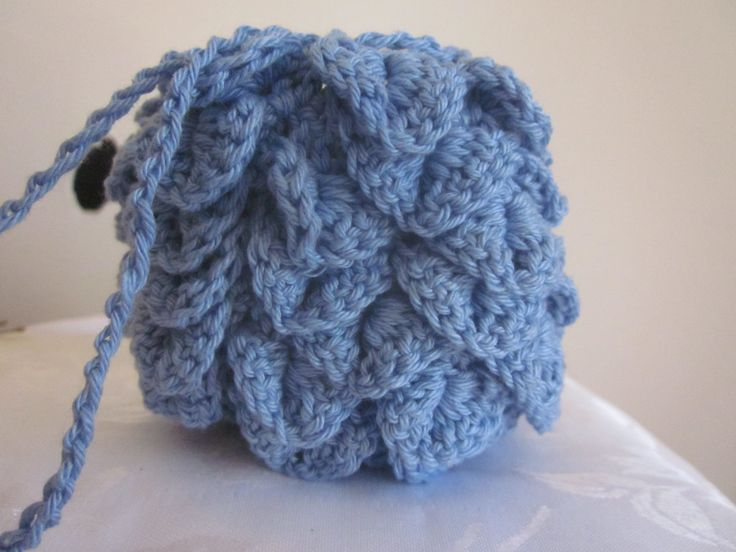 Small blue bag,crocheted bag, drawstring pouch, dragonscale bag, devil fruit , by knightwhosaidknit on Etsy