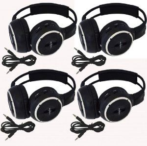 "Four Pack of Two Channel Folding Adjustable Universal Rear Entertainment System Infrared Headphones With 4 Additional 48"" 3.5mm Auxiliary Cords Wireless IR DVD Player Head Phones for in Car TV Video Audio Listening by Melodeez. $89.99. You will receive 4 wireless Infrared headphones Plus Four 48"" 3.5mm Double male Auxiliary cords. Enjoy music, movies and more! Automotive Grade IR Headphones: Will work on any vehicle that uses infrared headphones. No programming requir..."