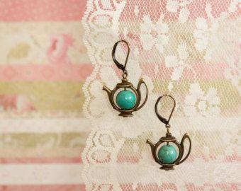 Teapot Leverback Bronze Earrings
