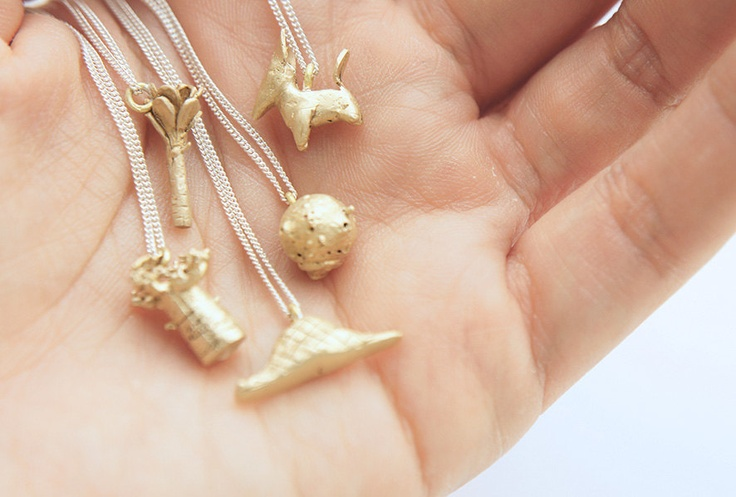 """INFANCIA Pendants in BRASS - Le Petit Prince inspired, fox, baobab, boa, rose, asteroid, 18"""" curb chain, delicate necklace, little prince // gemagenta"""
