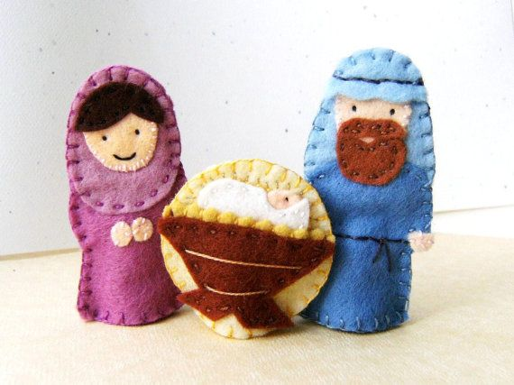 Nativity Christmas Finger Puppet Set in Wool Felt by claraclips