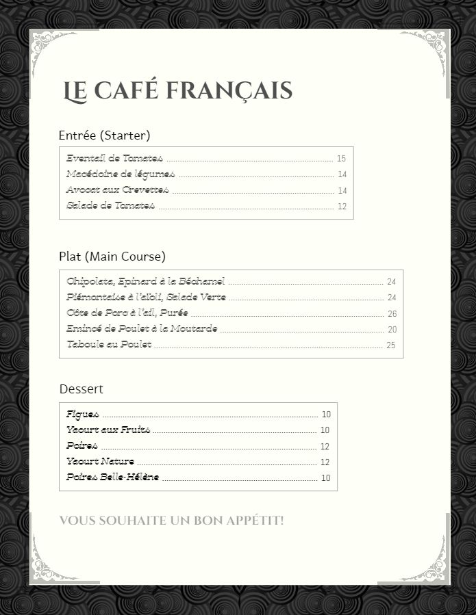 French bistro cafe menu template - black and white | French Menu ...