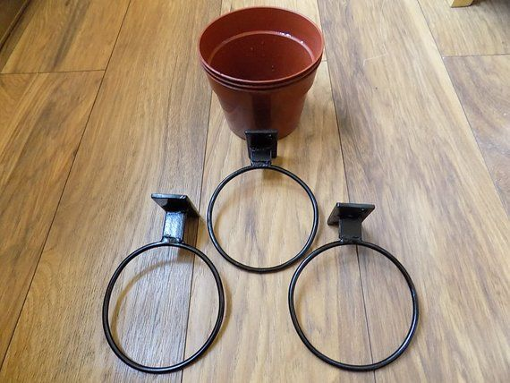3x5 Plant Pot Holders Wrought Iron Forged Steel Hand Made Free Fitting Kit Please Check Dispatch Times Forged Steel Plant Pot Holders Forged Iron
