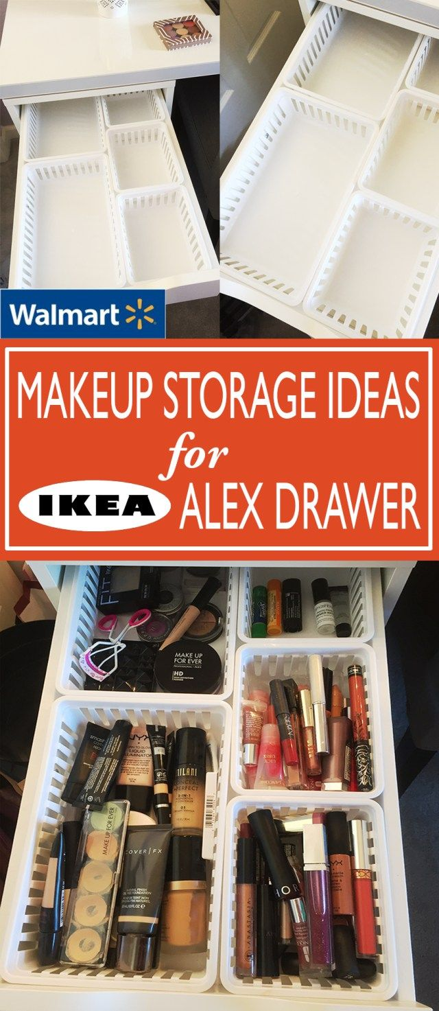 Walmart Makeup Storage Ideas for IKEA Alex Drawers - These kitchen bins from Walmart work perfectly for the 5-drawer Alex from Ikea!
