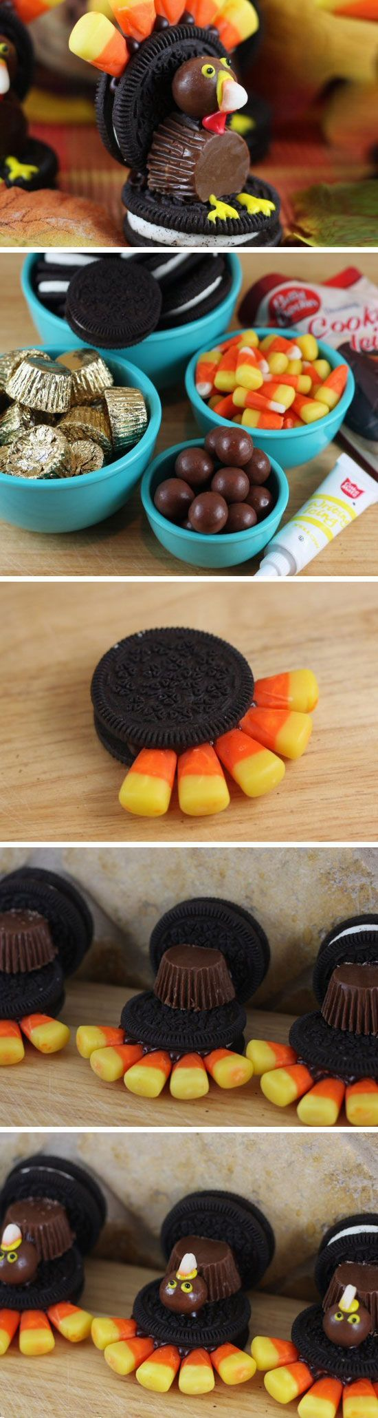 Oreo Turkeys Easy Thanksgiving Desserts Recipes for Kids   Easy Fall Treats for Kids to Make