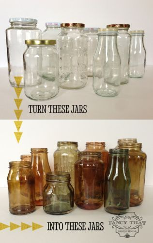 DIY color tinted jars - would be cool for any kind of pirate/treasure setup, or anything old world