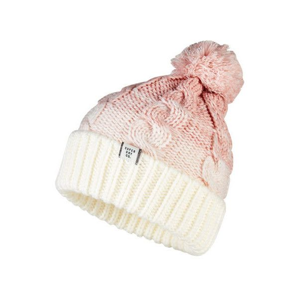 Superdry Ombre Clarrie Beanie (€23) ❤ liked on Polyvore featuring accessories, hats, pink, logo beanie hats, fleece lined beanie hat, beanie hat, bobble hat and pink beanie