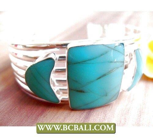 Turquoise alpaka silver bracelet cuff made in bali