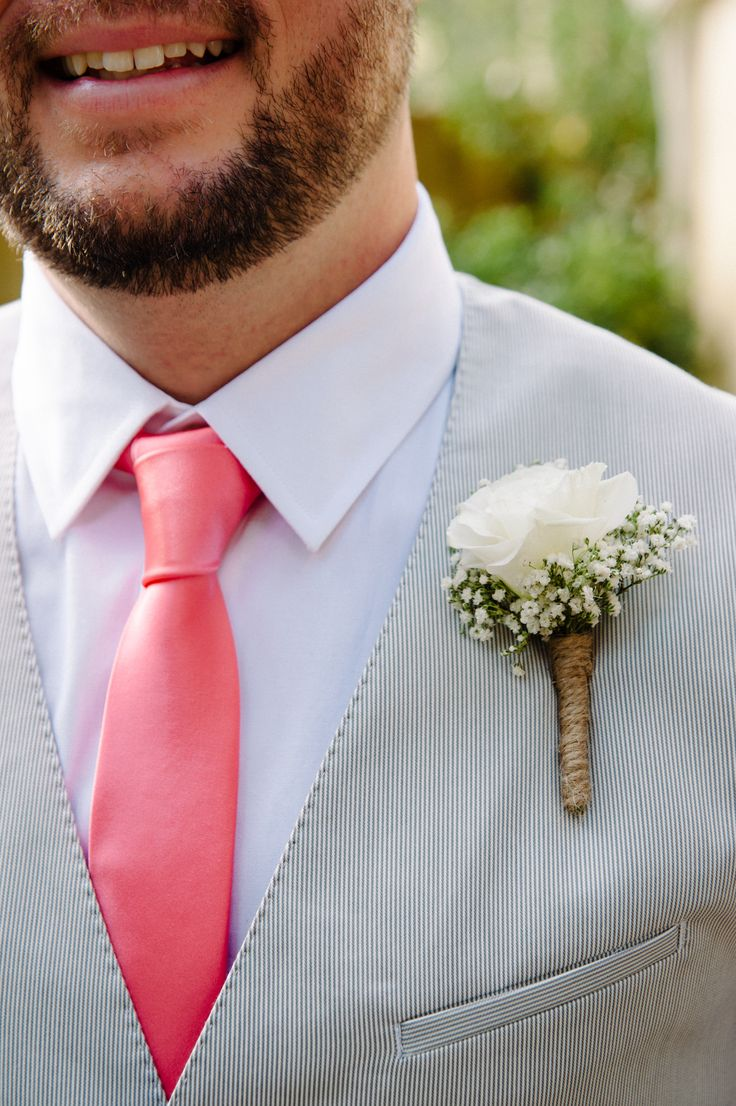 Groom - Coral and Grey Weddings - Boutonniere - Baby's Breath - Twine - Rustic Chic Weddings