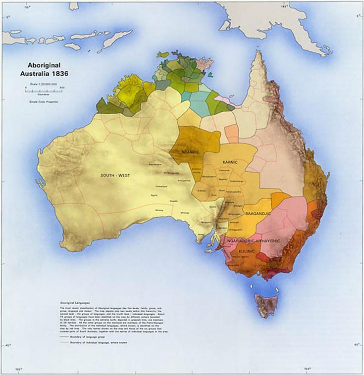 This map points out the Aboriginal tribes that existed in Australia in 1836 and their locations. The downside to this map is the small type that appears here. This map came from the Australian Government's atlas which is full of different historical and physical maps. Australian was first discovered in 1606 but wasn't colonized until 1788. Around the time of this map, 1836, the states were beginning to appear as separate colonies and the Aborigine populations began to decline.