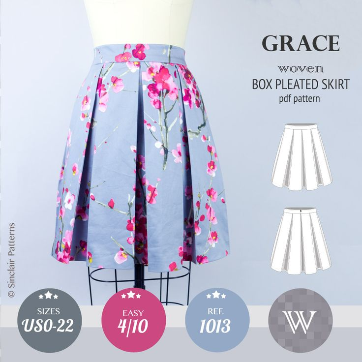 Grace box pleated lined woven skirt with pockets (PDF)