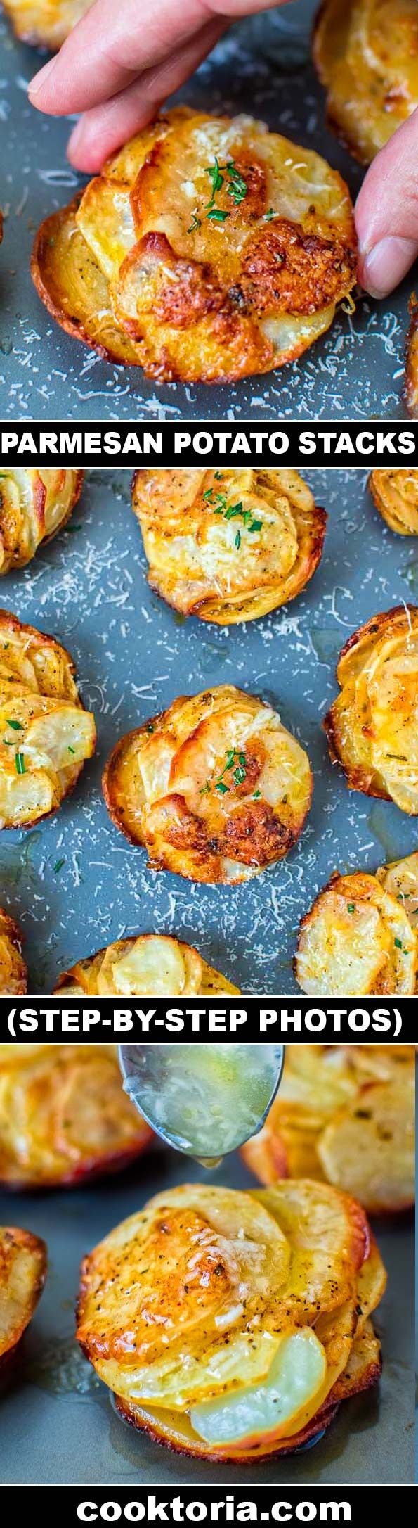 Crispy on the outside and soft on the inside, these flavorful Parmesan Potato Stacks make a great snack, or a side dish. ❤ COOKTORIA.COM