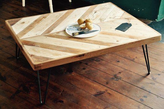 Reclaimed Wood Rustic Industrial Coffee Table Steel Hair por 7MAGOK