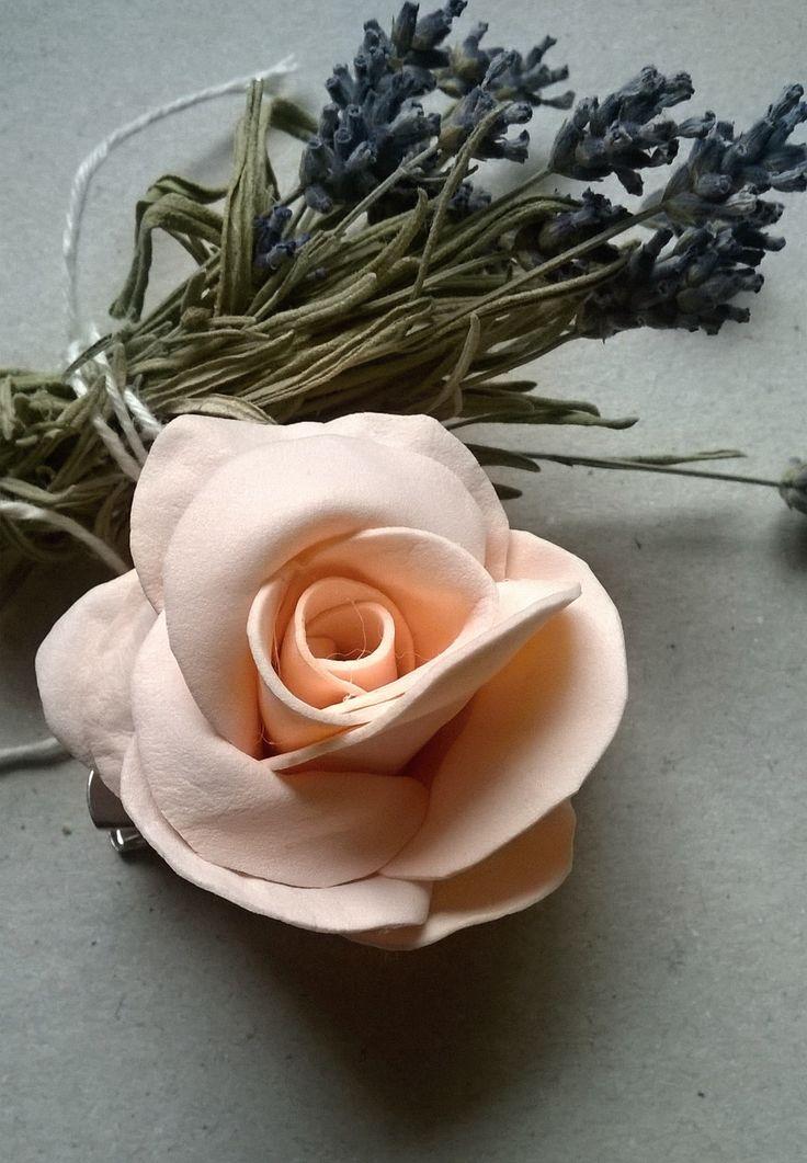 Peach rose brooch It is made of foam rubber so. foamiran.