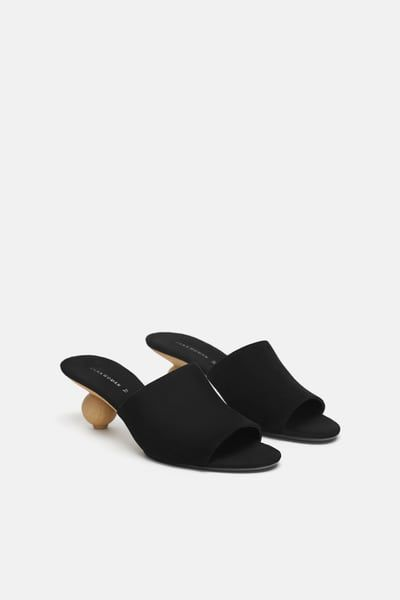 Image 1 of ROUND HEELED LEATHER MULES from Zara