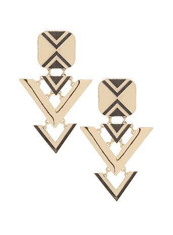 Miss Selfridge Gold Aztec Drop Earrings