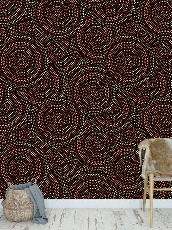Removable Peel And Stick Wallpaper Red Bead Modern Abstract Etsy Peel And Stick Wallpaper Vinyl Wallpaper Wallpaper