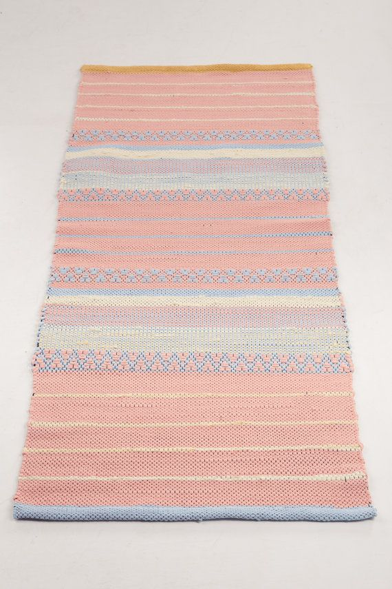 Light Salmon Lemon Light blue Woven Rug Cotton by HermanTextiles