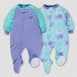Gerber® Baby Girls' 2pk Sweet Elephant Microfleece Zip-Front Footed Blanket Sleepers - Purple/Mint