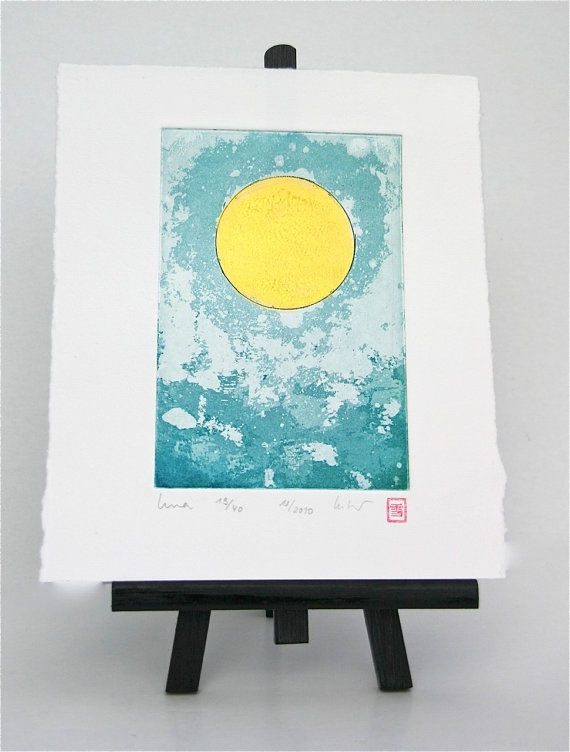 Luna Moon Sun Sol  Original Etching by freshandsilly on Etsy, $30.00