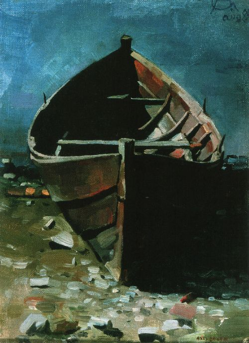 Akseli Gallen Kallela painting of Beached Boat at Daybreak