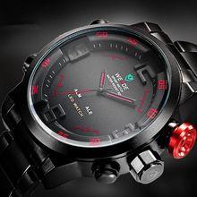 Weide hombres de la marca de relojes militares hombres de lujo de acero completo reloj de cuarzo pantalla LED relojes del 30 M resistente al agua ( rojo )(China (Mainland))