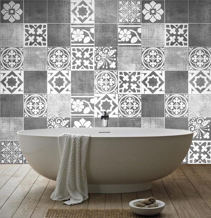 mooie zwart-witte tegel stickers voor de badkamer