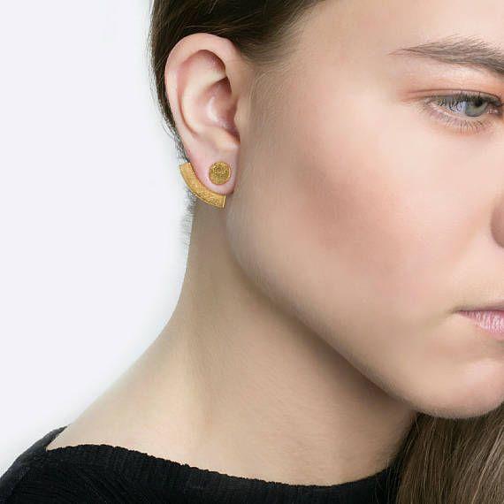 Καμπύλη Ear JacketsFront Πίσω Σκουλαρίκια διπλής όψης μινιμαλιστικό