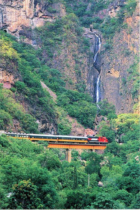 Train going through Copper Canyon in Mexico