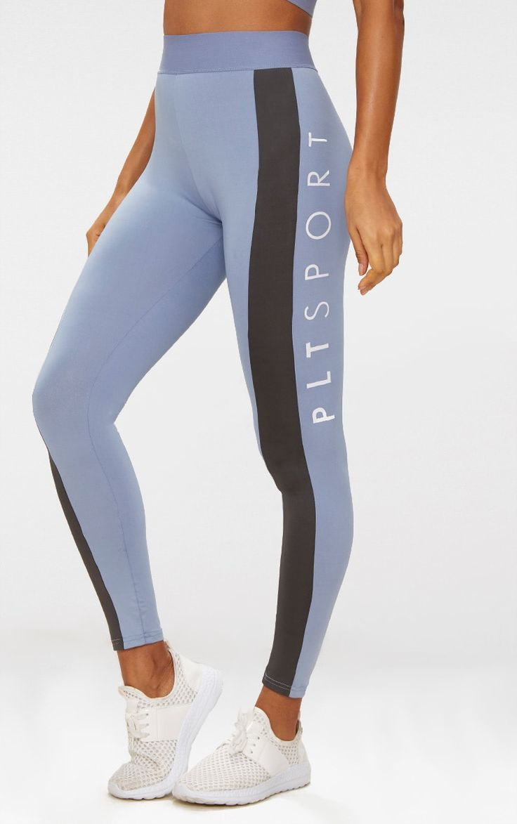 Dusty Blue Sports Leggings | Active | PrettyLittleThing