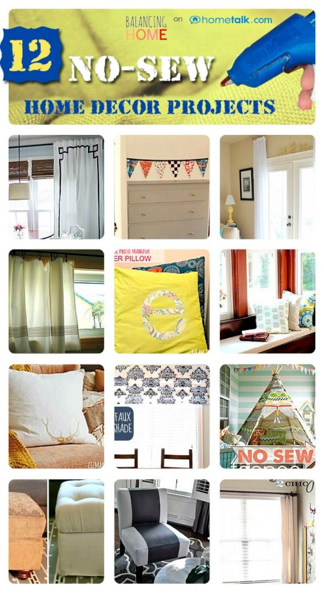 12 No-Sew Home Decor Projects   by 'Balancing Home' blog!