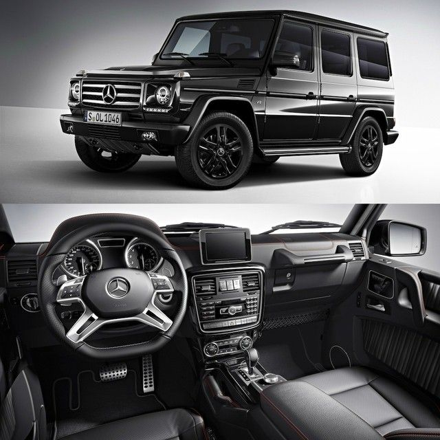Presenting the G550 Night Package. A unique twist on one of the world's most unique vehicles, the Night Package features black 18-inch 5-twin-spoke alloy wheels outside, designo Black Nappa leather with red contrast stitching inside and all of it draped in a rich layer of Obsidian Black paint. To learn more about this special package exclusive to the 2015 G550, contact your Mercedes-Benz dealer.  #Mercedes #Benz #G550 #NightPackage #designo #instacar #carsofinstagram #germancars #luxury