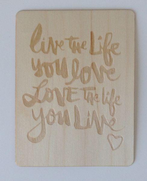 Live the Life Amy Tangerine 3x4 Wood Veneer Card by Two Peas - @Kari Jones alissa Peas in a Bucket