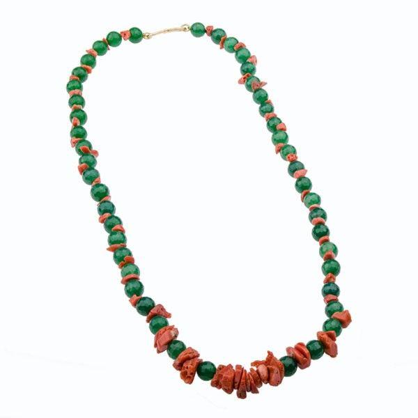 Collar VJ Coral & Ágata Verde