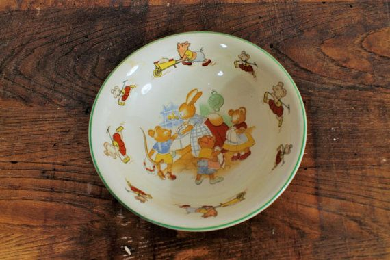 SALE:  25%    Baby Bowl Antique China baby by ClockworkRummage