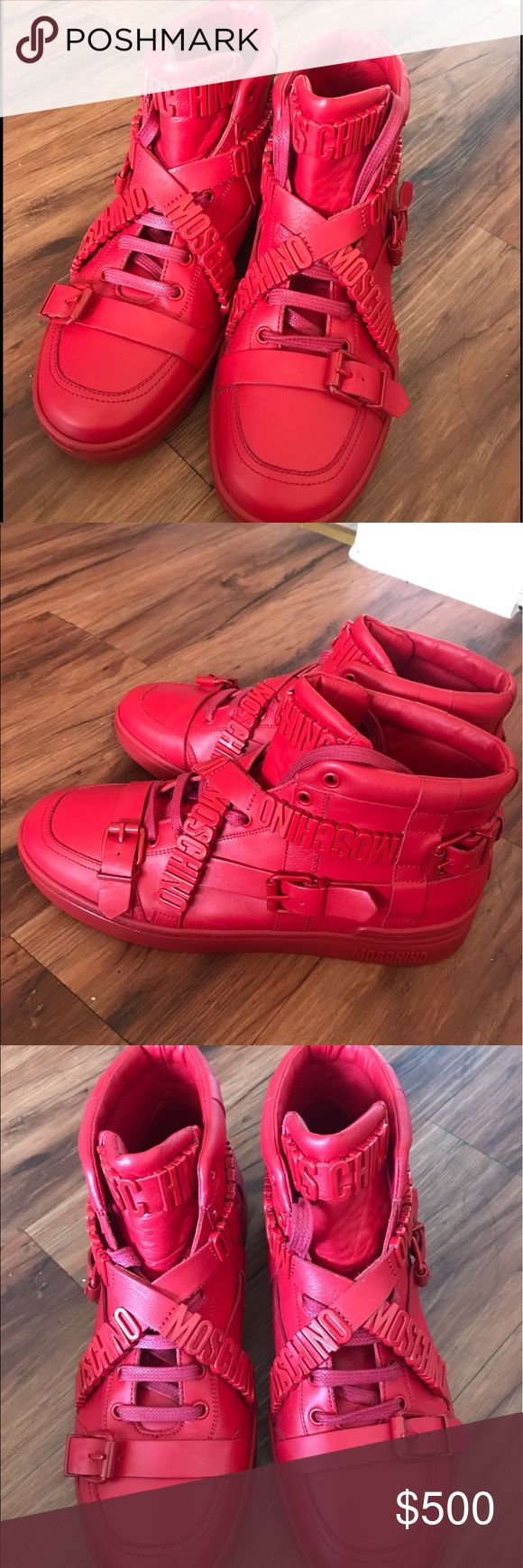 Moschino Red Designer  Sneakers Moschino Sneakers Size 9 MEN (42) have been worn twice. No damaging look like new. They DO NOT come with original box but I will provide one. Willing to negotiate price. Moschino Shoes Sneakers