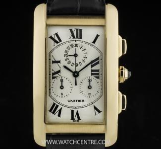 Cartier 18k Yellow Gold Silver Roman Dial Tank Americaine Chronoflex Box & Papers #Cartier #Gold #Silver #Tank #Americaine #Chronoflex #Wristwatch #Luxury #Timepiece #WatchCentre #NewBondStreet #Mayfair #London