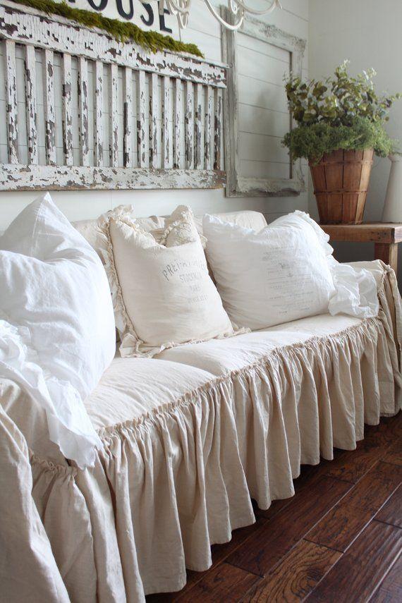 Slipcover Ruffled Sofa Cover Scarf
