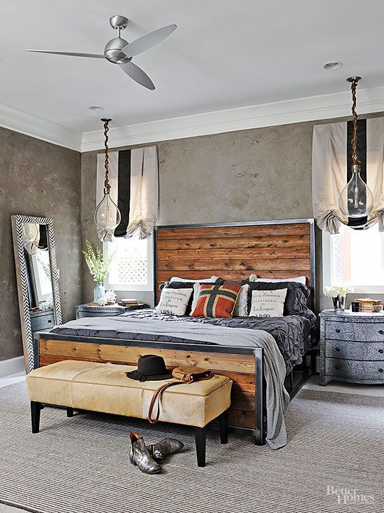 Industrial Edge - Handsome wood plank headboard with a metal frame. Cool grey bedding and accents set off the warm wood. From BHG.: