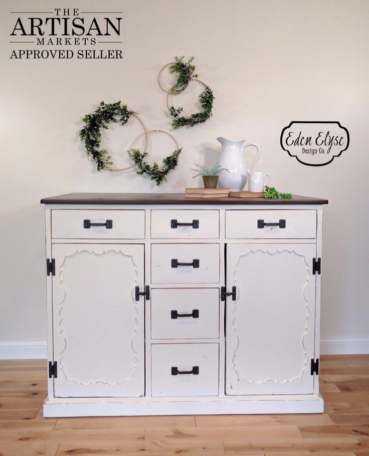 """""""This farmhouse hutch exterior has been refinished in Antique White Milk Paint and Antique Walnut Gel Stain with Arm-R-Seal. The drawer interiors have also been stained and sealed to match the top. I absolutely love all of General Finishes products!"""" - Ashley Olson of Eden Elyse Design Co."""