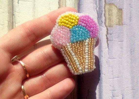 Seed bead ice-cream brooch Seed bead brooch Ice-cream