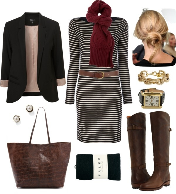 """Striped Sweater Dress"" by bluehydrangea on Polyvore"
