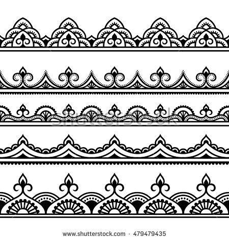 Vector henna seamless borders set. Mehndi style.