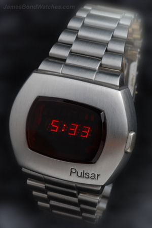 The first (mass-produced) digital watch, the Pulsar-P2 LED. Advertised by Tiffany's and worn by James Bond.