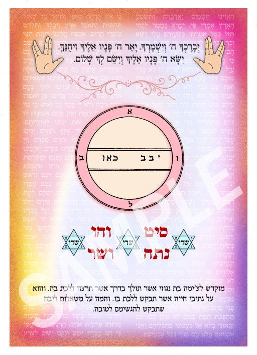 "Personalized Kabbalistic amulet with King Solomon seal and the ""72 Names of God"" - to help you fulfill your wishes - even the impossible"